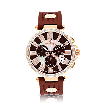Stainless Steel 316L Watch Rose Gold Plated Brown Rubber MOP Dial For Men