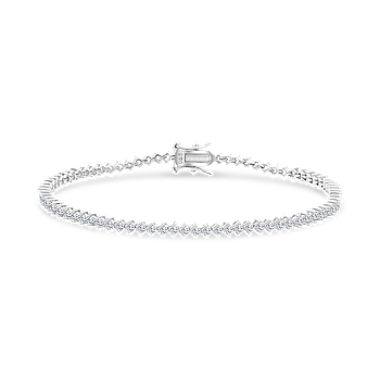 Sterling Silver 925 Bracelet Rhodium Plated