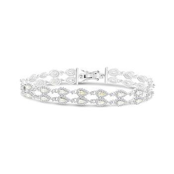Sterling Silver 925 Bracelet Rhodium Plated Embedded With Yellow Zircon
