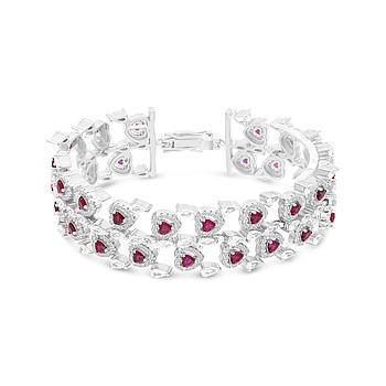 Sterling Silver 925 Bracelet Rhodium Plated Embedded With Ruby Corundum And White CZ