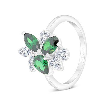 Sterling Silver 925 Ring Rhodium Plated Embedded With Emerald And White CZ