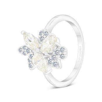 Sterling Silver 925 Ring Rhodium Plated Embedded With Yellow Zircon And White CZ